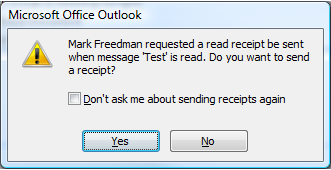 Outlook Receipt Message Box