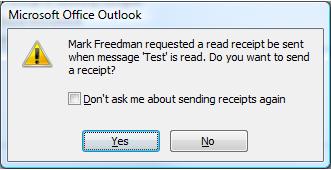 Outlook Receipt Message Box